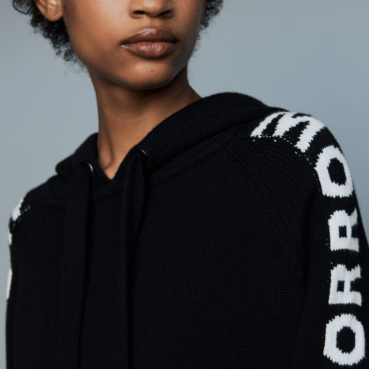 Oversize hooded graphic sweater : Sweaters color Black 210