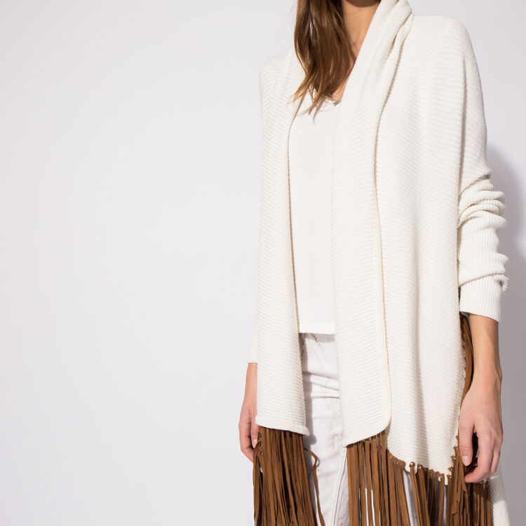 Linen cardigan with leather fringe : An invitation to travel color