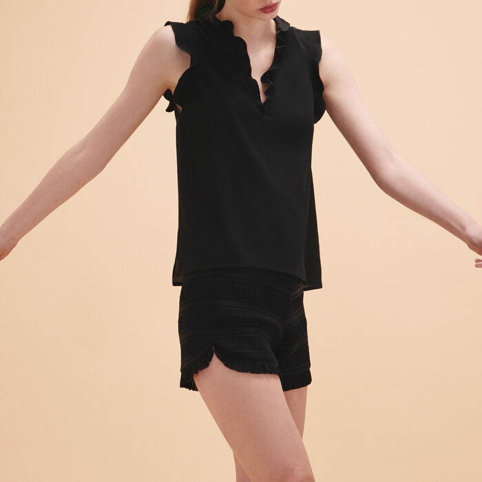 Frilled sleeveless top : Tops & T-Shirts color Black 210