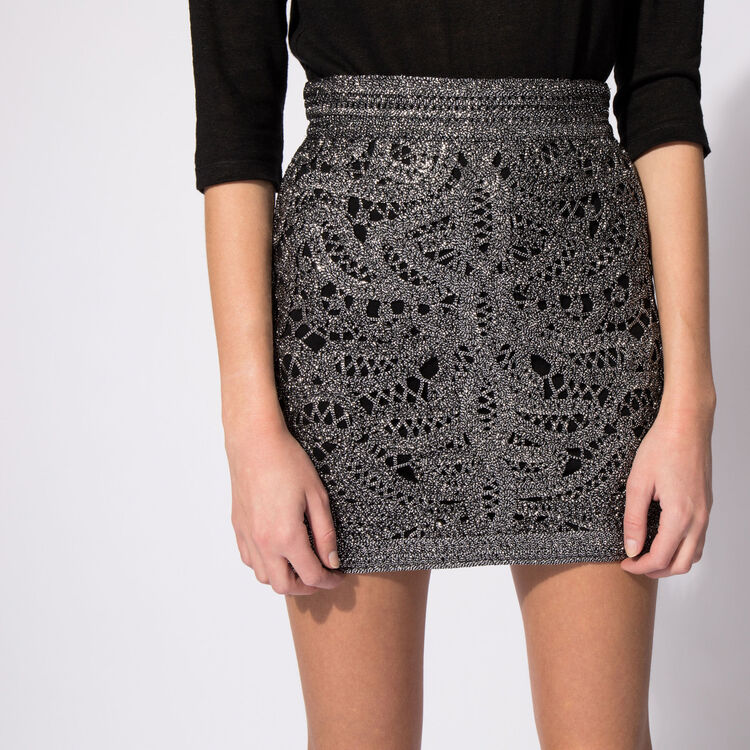 Short crocheted and lurex skirt : Silver color