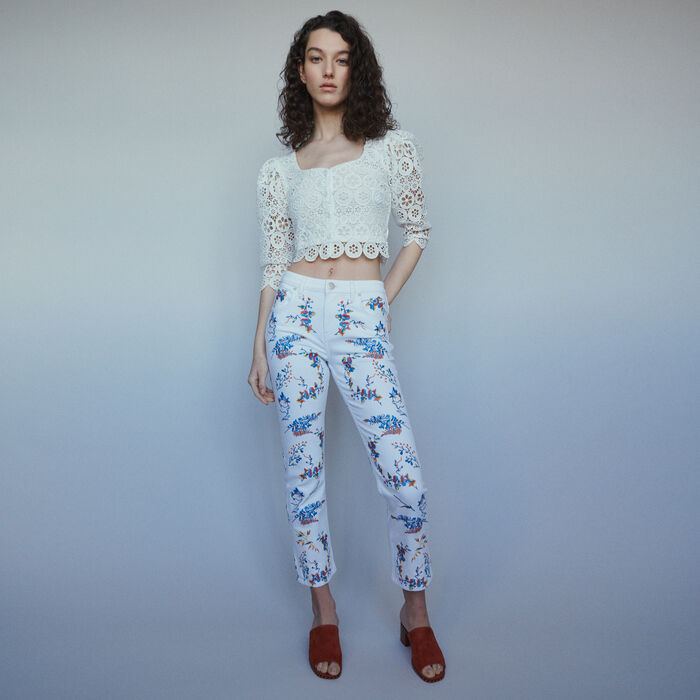Straight embroidered jeans : Pants & Jeans color Multico