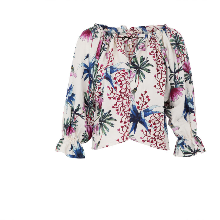 Linen and silk printed top : The Zoe Report color