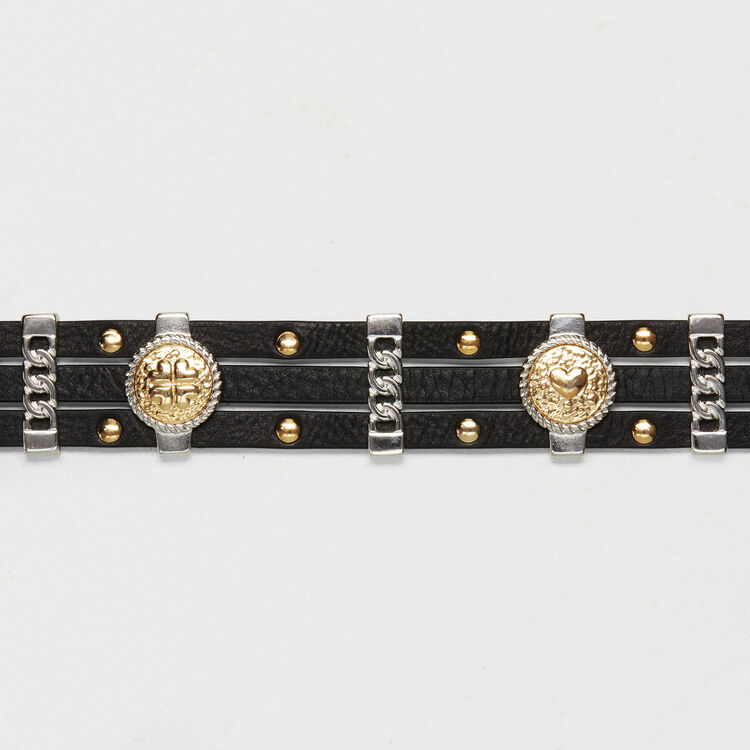 Leather belt with medallions : Shoes & Accessories color Black 210