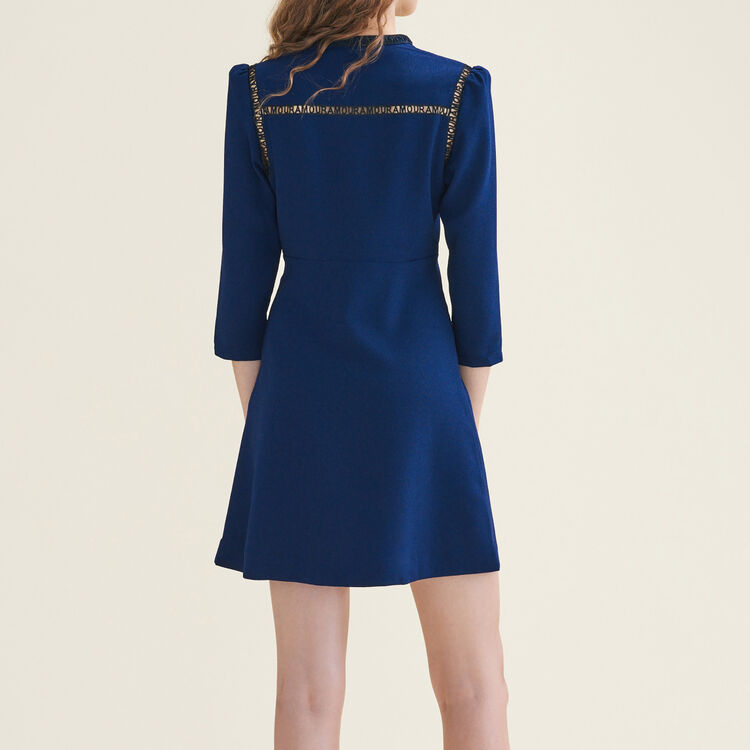 AMOUR short dress with braid trim : Dresses color Night