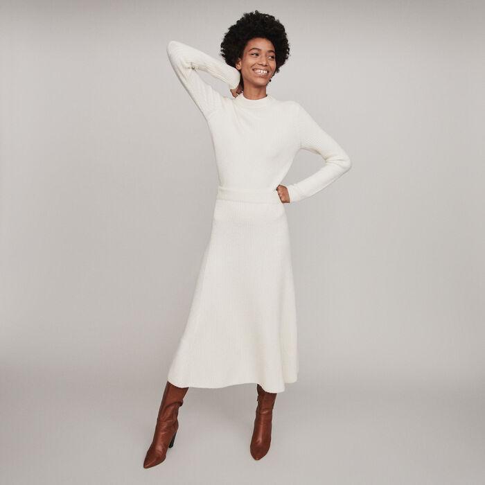 Calf-length ribbed skirt : Skirts & Shorts color Ecru