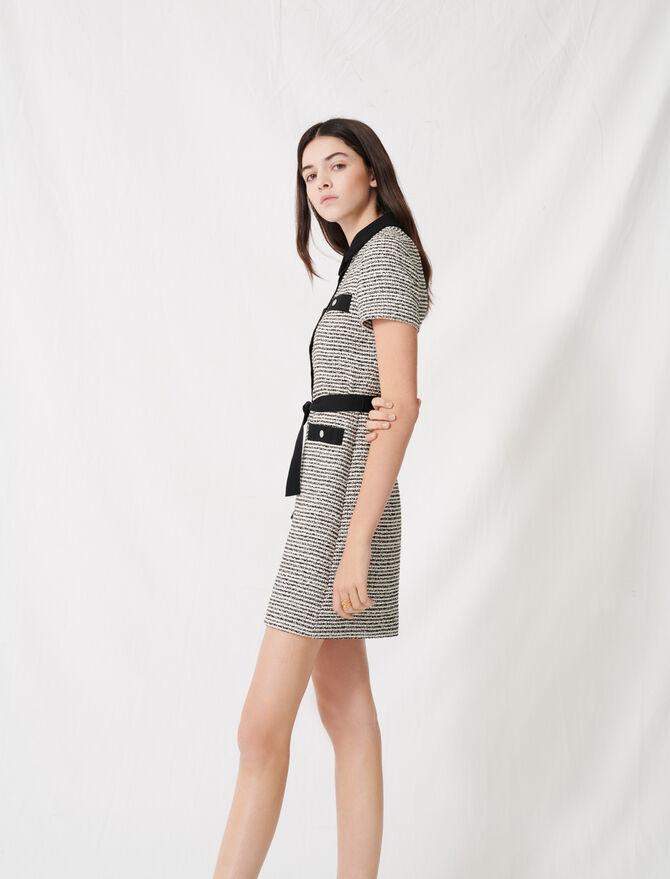 Belted tweed-style dress - Dresses - MAJE