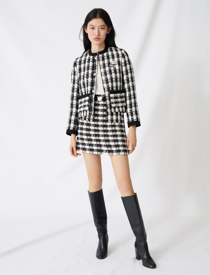 Tweed-style cropped jacket - Coats & Jackets - MAJE