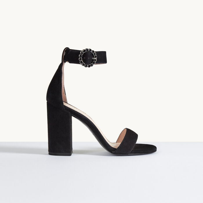 Suede heeled sandals : See All color Black 210