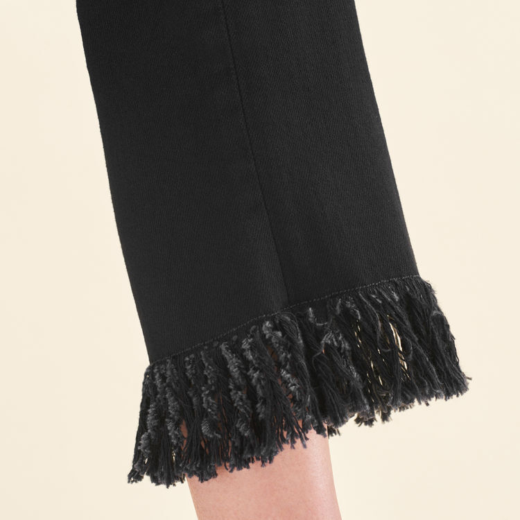 Straight-cut fringed jeans : Pants & Jeans color Black 210