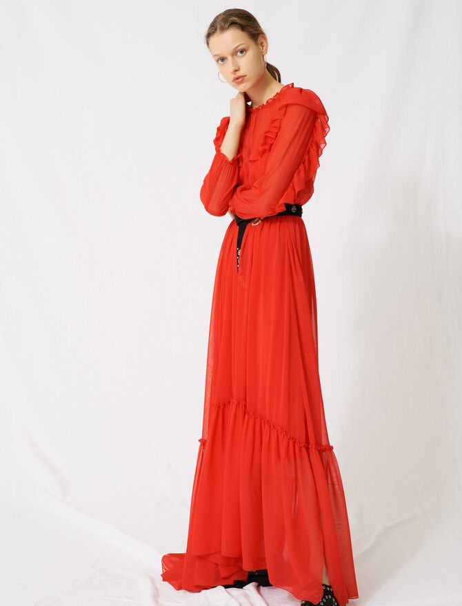 Long dress with ruffles - Dresses - MAJE