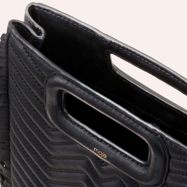 Quilted leather M bag : New Collection color Black 210