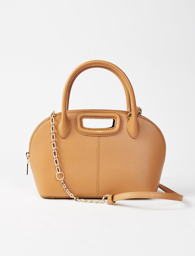 Camel smooth leather rounded handbag -  - MAJE