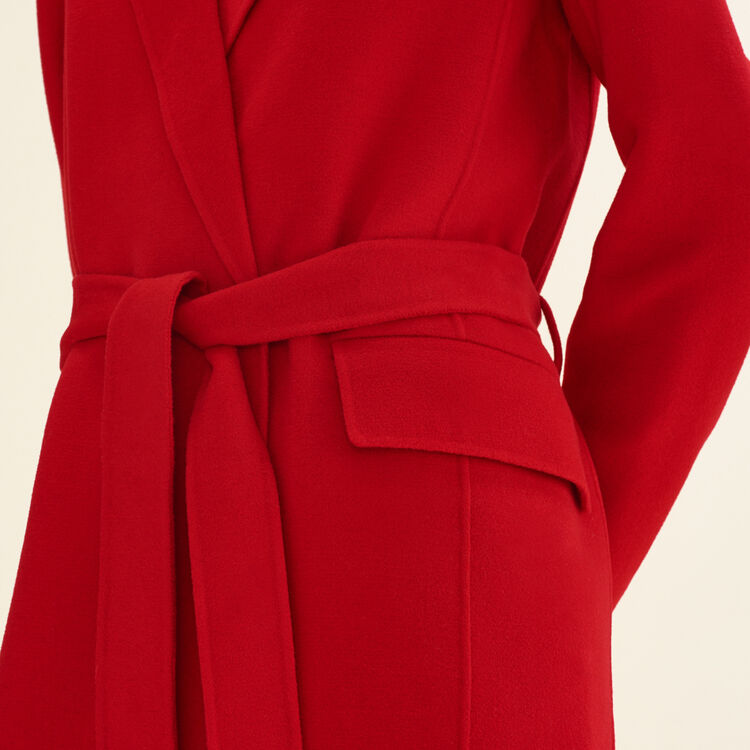 Long double-sided wool coat : Coats & Jackets color Red