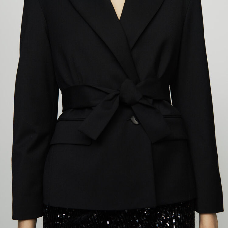 Cropped jacket in virgin wool : Coats & Jackets color Black 210