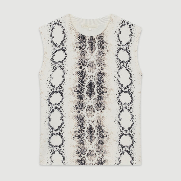 Sleeveless sweater in python print : Sweaters color Printed