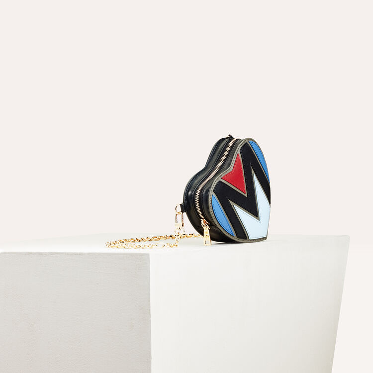 Quilted leather heart-shaped saddle bag : All bags color Multico