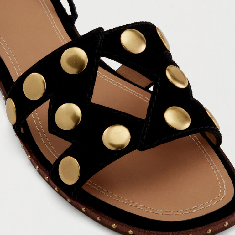 Stud suede sandals : Shoes & Accessories color Black 210