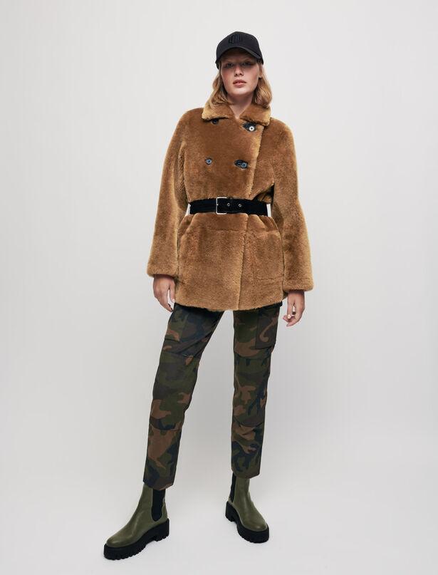 마쥬 MAJE Reversible shearling coat,Black/Camel