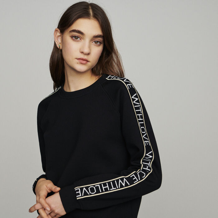 "Sweat ""With Love"" on sleeves : Sweaters color Black 210"
