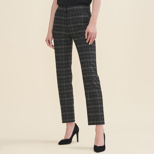 Tartan cigarette trousers : Pants & Jeans color Jacquard