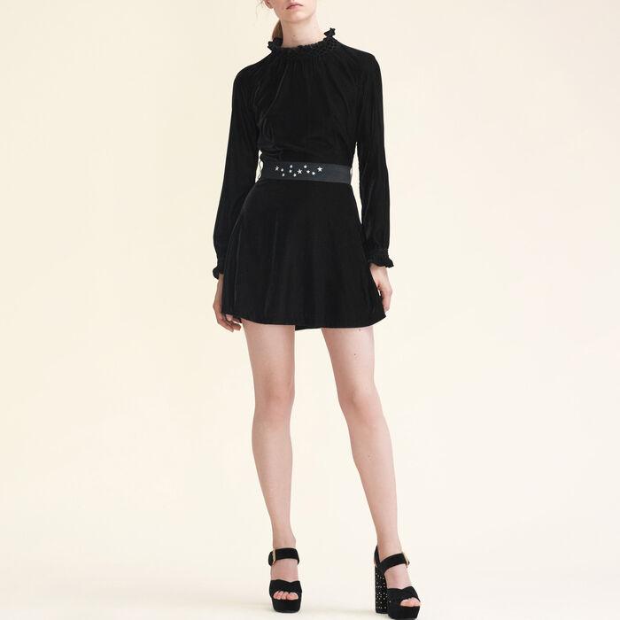 Velvet dress with belt -  - MAJE