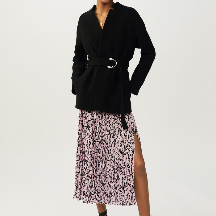 Cropped belted coat : Coats & Jackets color Black 210