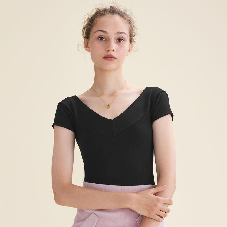Short-sleeved bodysuit : Tops & T-Shirts color Black 210