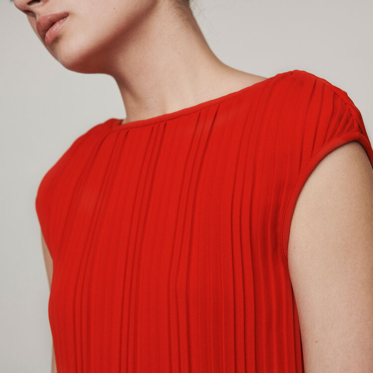 Sleeveless pleated dress : Dresses color Red