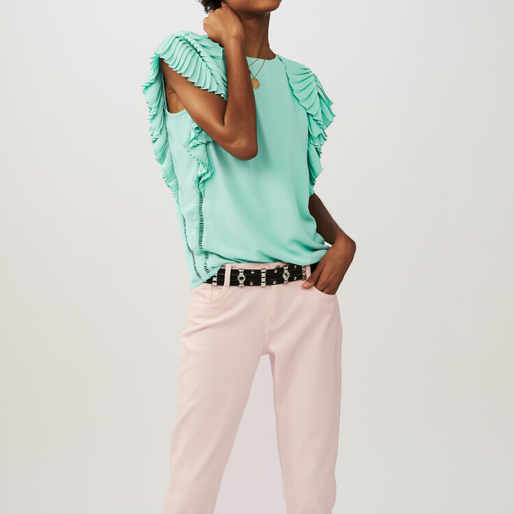 Top with pleated sleeves : Tops & Shirts color GREEN