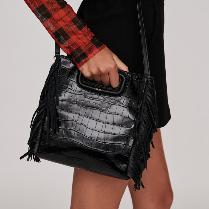 Crocodile embossed-leather M bag : M Bags color Black