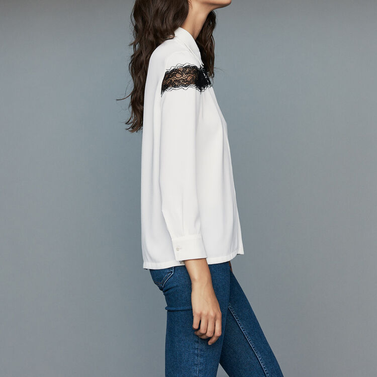 Blouse with lace : Tops & T-Shirts color Ecru