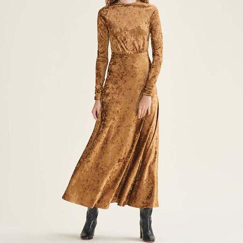Long velvet dress : Dresses color GOLD