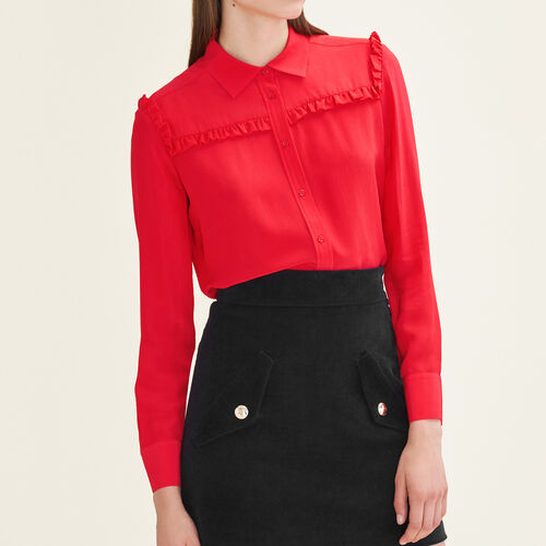 Frilled silk shirt : Tops & T-Shirts color Red
