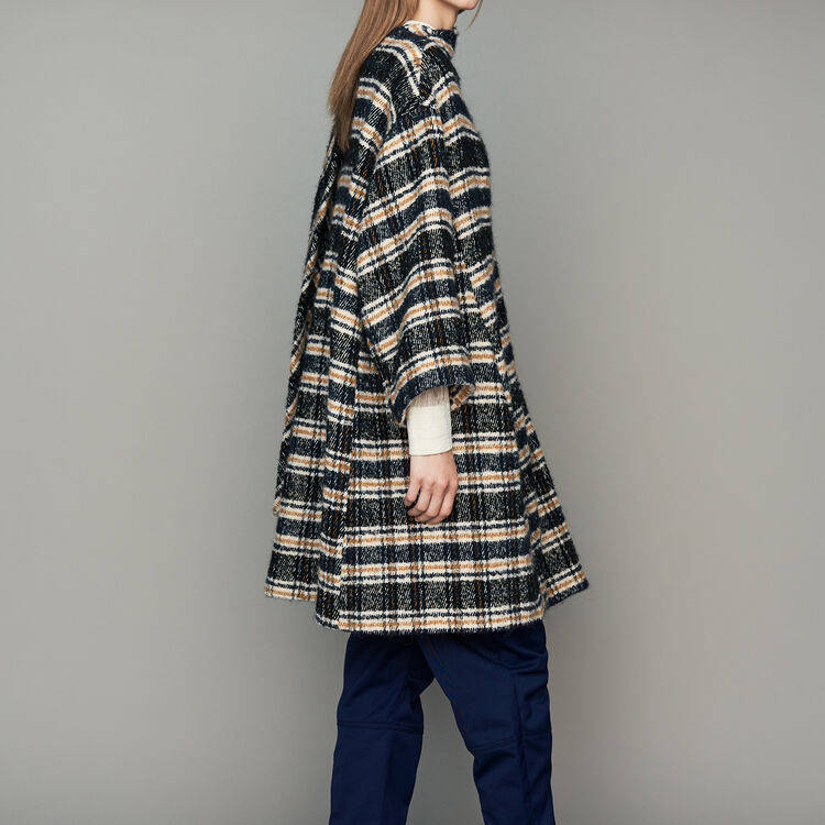Poncho-style coat in tartan : Coats & Jackets color CARREAUX