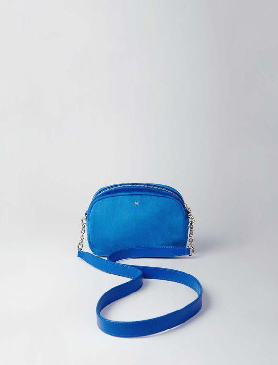 Quilted velvet shoulder bag : Camera Bag color Blue