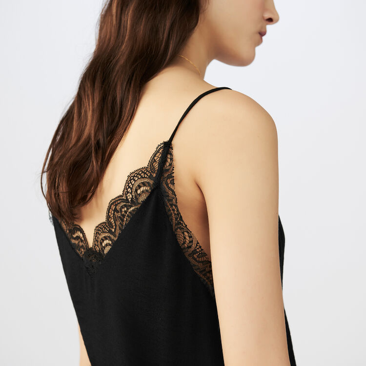 Crepe camisole with lace : Tops & T-Shirts color Black