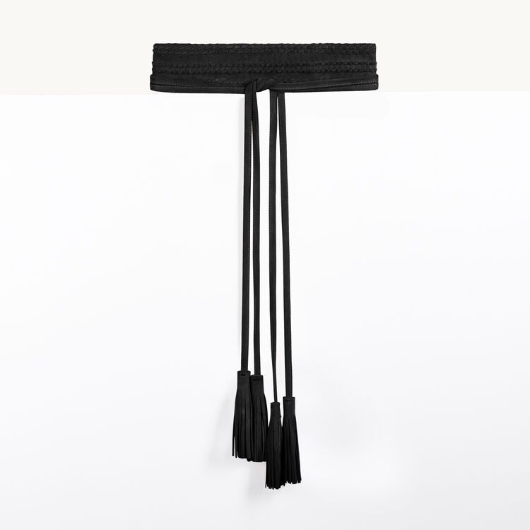 Leather tie belt with tassels : Carryover color