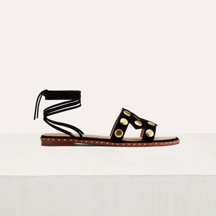 Stud suede sandals : Shoes & Accessories color Black 210