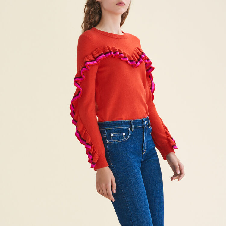 Frilled jumper in wool and cashmere : Sweaters color Orange