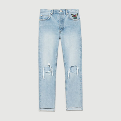 Cropped faded denim jeans : Pants & Jeans color Denim