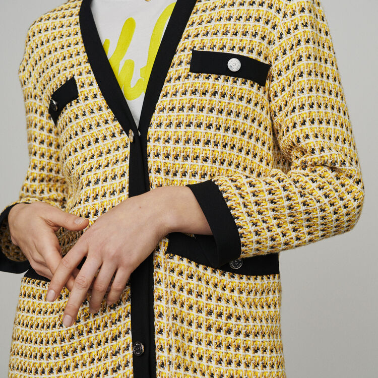 Jacket in tweed and lurex : New in: Spring Collection color Yellow