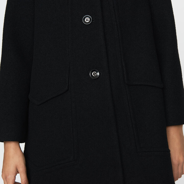 Wool trapeze coat : Coats & Jackets color Black 210