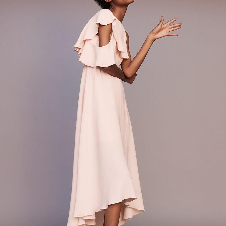 Long sleeveless asymmetric crepe dress : Dresses color PECHE