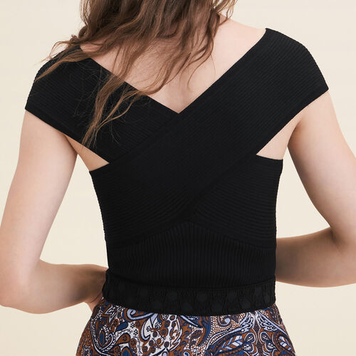 Ribbed knit sleeveless top : Sweaters color Black 210