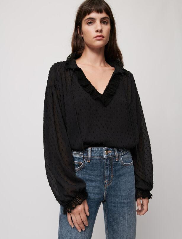 마쥬 도트 레이스 탑 MAJE Dotted Swiss voile and lace top,Black