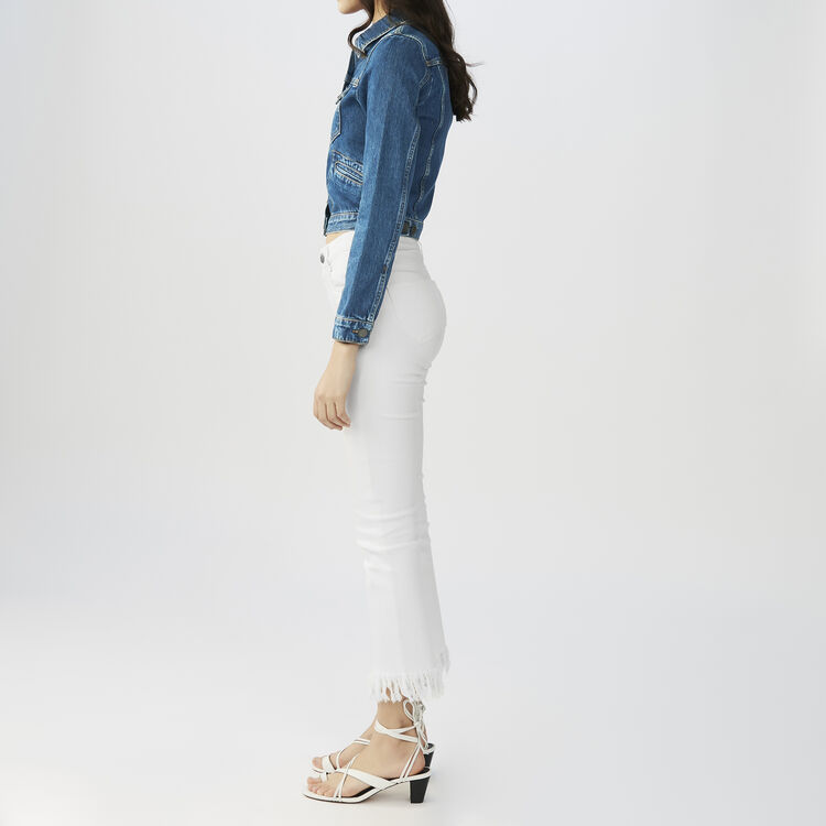 Straight cut jeans with fringed hem : Pants & Jeans color White
