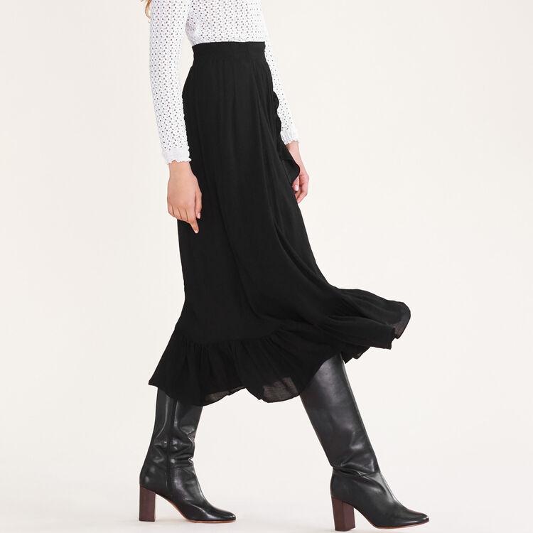 Asymmetric frilled skirt : Skirts & Shorts color Black 210