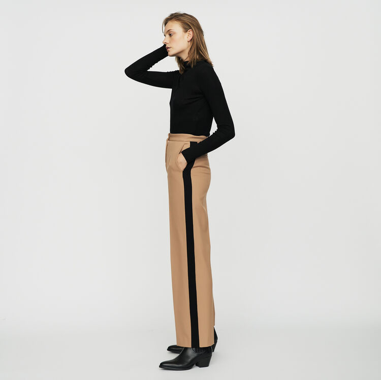 Pleated pants with contrasting stripes : Pants & Jeans color Camel