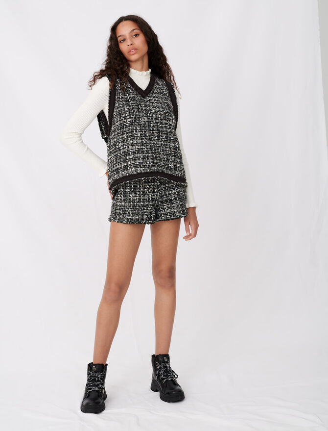 Tweed-style top with contrast trims - Tops & T-Shirts - MAJE