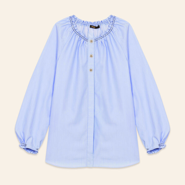Cotton blouse top with smocking : Tops & Shirts color Blue